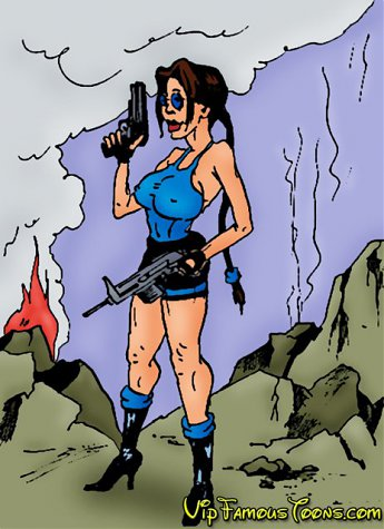Tomb raider Lara Croft in wild adventure with robot and her lover