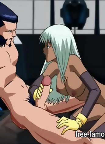 X-Men heroes Wolverine and his lesbian girlfriends FFM orgy