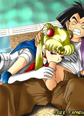 Lusty teen girl Sailormoon and DragX wild hardcore sex