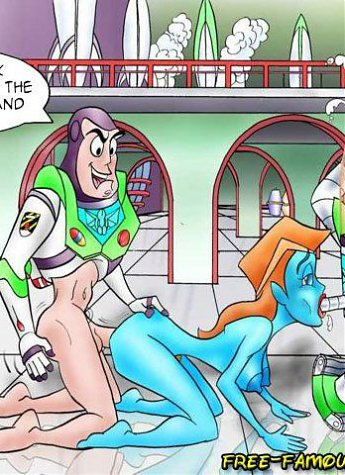Famous cartoon superhero Buzz Lightyear and his girlfriends from Toy Story in hardcore sex orgies...