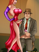 Stacked t-girl Jessica Rabbit in action - 3 gay & shemale pictures
